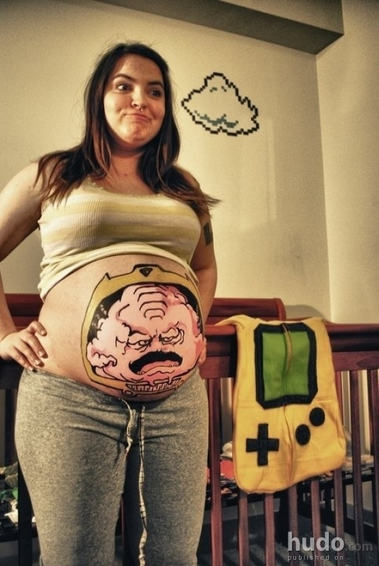 Painted pregnant belly makes sense