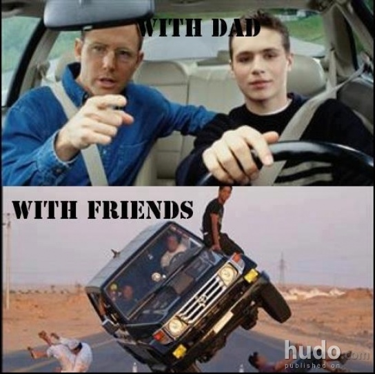 Driving with dad vs. driving with yo homies