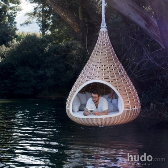 The perfect place for reading but how do you get in and out without getting wet?