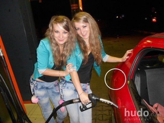 Blondes at the gas station
